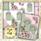 Dog rose scalloped edge tag card set
