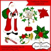 Traditional Christmas Clipart Graphics Kit 300dpi CU or PU