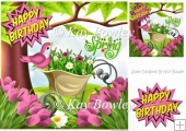 spring garden with wheel barrow of flowers and pink tulips 8x8
