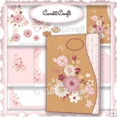 Wavy edge pink flower card set