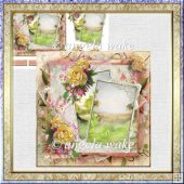 Wild country rose card with decoupage