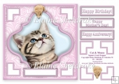 Cat & Mouse (1) - 7.5 x 7.5 Card Topper With Greetings & Decoupa
