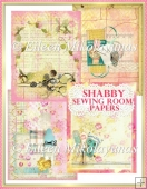 Shabby Sewing Room Collage Background Backing Papers Set of 4