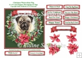 Christmas Poinsettias Watercolour Pug Puppy Dog - 6 x 6 Topper