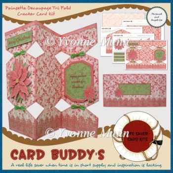 Poinsettia Decoupage Tri Fold Cracker Card Kit