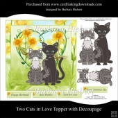 Two Cats in Love Topper with Decoupage