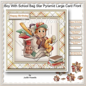Boy With School Bag Star Pyramid Large Card Front