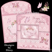 Pink Damask Cropped Front Card