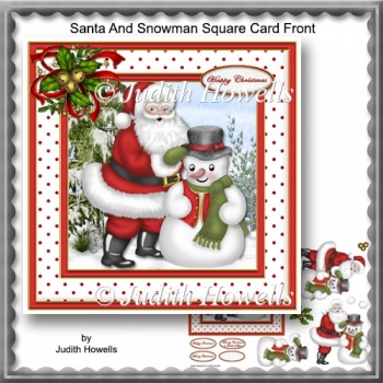 Santa And Snowman Square Card Front