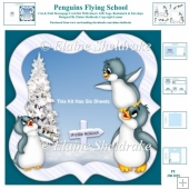Penguins Flying School Cut And Fold Decoupage Card Kit + Extras