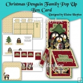 Christmas Penguin Family Pop Up Box Card