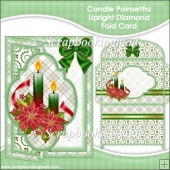 Candle Poinsettia Upright Diamond Fold Card & Envelope