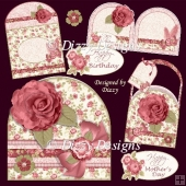 Rose Flapper Hat Style Card with Mini Gift Bag