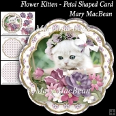 Flower Kitten - Petal Shaped Card