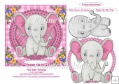 Pink Baby Elephant 6 x 6 Card Topper With Decoupage
