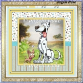 Great dane 7.5x7.5 card with decoupage