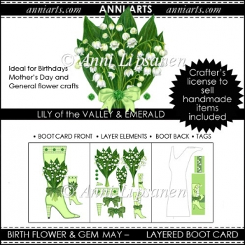 Birth Flower and Gem May: Tall Shaped Boot Card