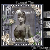 Steampunk Rose Card Front Kit