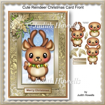 Cute Reindeer Christmas Card Front