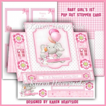 Baby Girl's 1st Pop Out Stepper Card