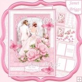 BRIDE & GROOM WEDDING DAY PINK A5 Decoupage & Inserts Kit