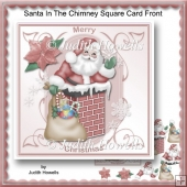 Santa In The Chimney Square Card Front