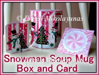 Cottage Chic Snowman Soup Mug Box and Christmas Gift Card Set