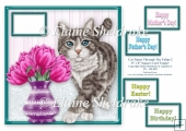 Silver Grey Tabby Cat Tiptoeing Round The Tulips - 8 x 8 Topper