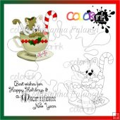 kittie christmas tee and sentiment Digi stamp
