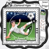 FOOTBALL STRIKER 7.5 White Soccer Decoupage Ages & Insert