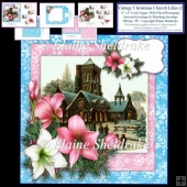 Vintage Christmas Church And Lilies - 6 x 6 Inch Card Topper