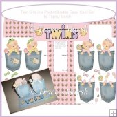 Baby Twin Girls in Pockets Double Easel Card Set