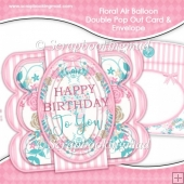 Floral Air Balloon Double Pop Out Card & Envelope