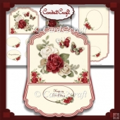 Red rose and butterflies easel card