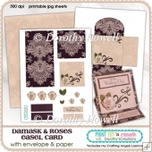 Damask & Roses Easel Card