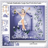 Female Celebration Large Card Front And Insert