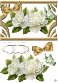 cream roses with butterfly & bow in art deco frame A5