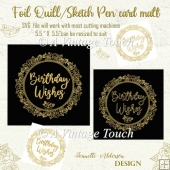 Single Line Foil quill sketch pen Rose Wreath Birthday greeting