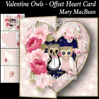 Valentine Owls - Offset Heart Card