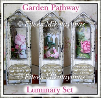 Cottage Chic Garden Pathway Luminary Set of 3 with Directions