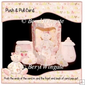 New Baby Girl Push n Pull Card