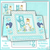 Baby Boy's 1st Birthday Pop Out Stepper Card