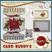 Poinsettia Scalloped Cracker Shaped Fold Card Kit