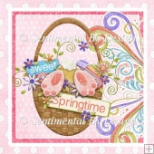 Sweet Spring Bunny Basket Card Front Decoupage Layer