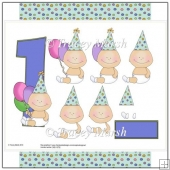 Boy 1st Birthday Balloons Decoupage Set