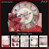 Christmas Clock Stepper Card Kit With Envelope 937