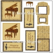 Framed Grand Piano Decoupage Easel Card