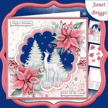 WHITE DEER & POINSETTIA 7.5 Christmas Decoupage & Insert Kit