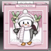 Penguin with Mistletoe Pink Mini Kit