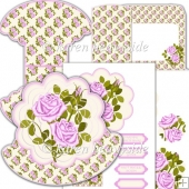 Pink Roses Scallop Rocker Card
